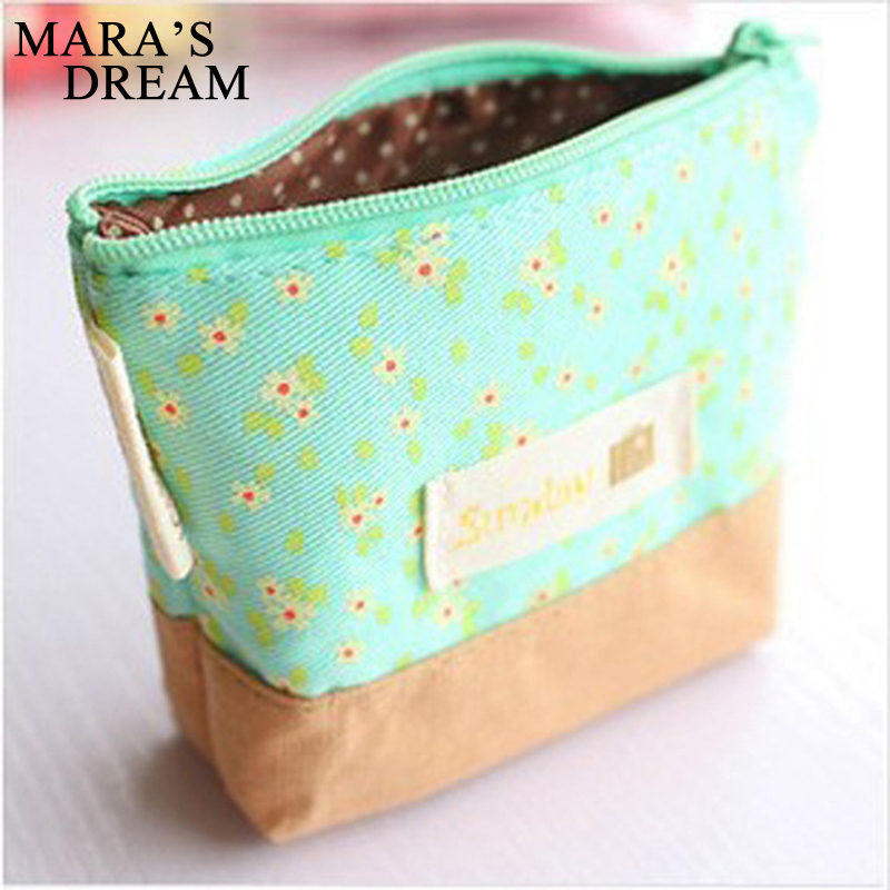 Maras's Dream 1pcs Elegant Pastoral Canvas Coin Purses Zero Wallet Child Girl Women Change Purse  Lady Zero Wallets Coin Bag mara s dream new arrival small dot zero printed girl s coin purses wallet bag pouch brand lady mini wallet with metal buckle