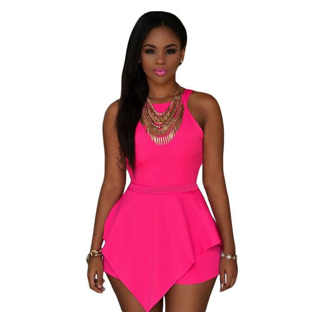 Rosa Sin Mangas Peplum Romper LC60547 cortos macacão feminino mujeres casual verano 2016 nueva moda corta conjuntos