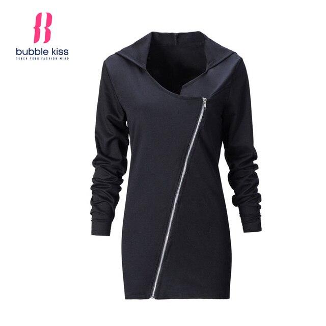 Basic Long Sleeve Women T Shirt Hoodies Autumn Casual Zipper Design Hooded Solid Color Black Female Top Clothes Bubblekiss
