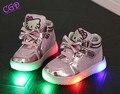 Детская Обувь Hello Kitty Детские Девушки Стразы Обуви Чистая Поверхность СВЕТОДИОДНЫЕ Огни Обуви