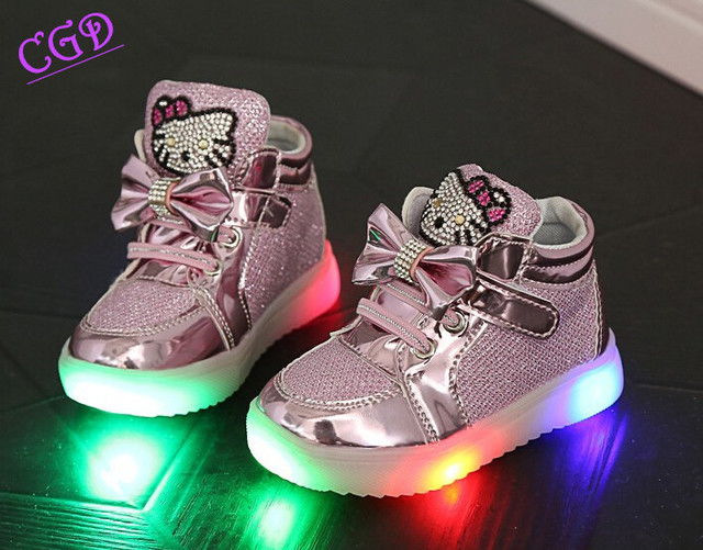 Baby Shoes Hello Kitty Baby Girls Rhinestones Shoe Net Surface LED Lights Shoe