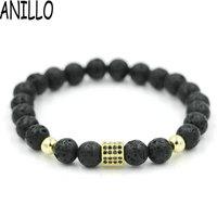 ANILLO Wholesale 10 pieces / lot Men Women Hexagon Bracelet 8 mm Natural Volcano Lave Stone Gold Color Copper Beaded Bracelet