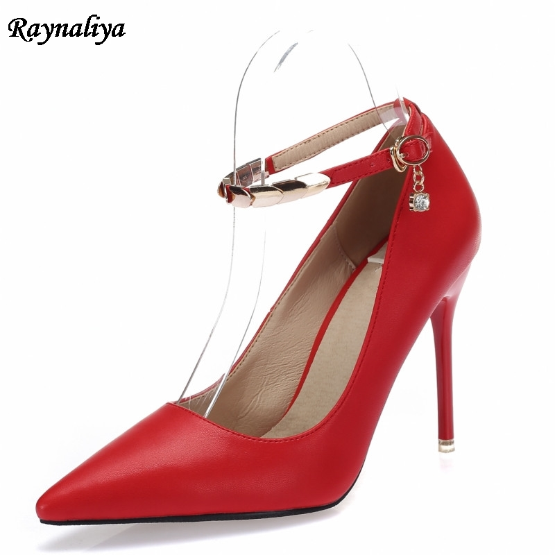 Fashion Sheepskin Leather Size 34-43 Black Red Women Shoes Sexy Pointed Toe High Heel Buckle Strap Woman Pumps Office XZL-A0067 esveva 2017 ankle strap high heel women pumps square heel pointed toe shoes woman wedding shoes genuine leather pumps size 34 39