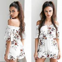 Hot Sales Women Ladies Fashion V Neck Floral Playsuit Party Jumpsuit Summer Short Sleeve Off Shoulder