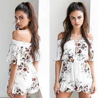 Hot Sales Women Ladies Fashion V Neck Floral Playsuit Party Jumpsuit Summer Short Sleeve Off Shoulder