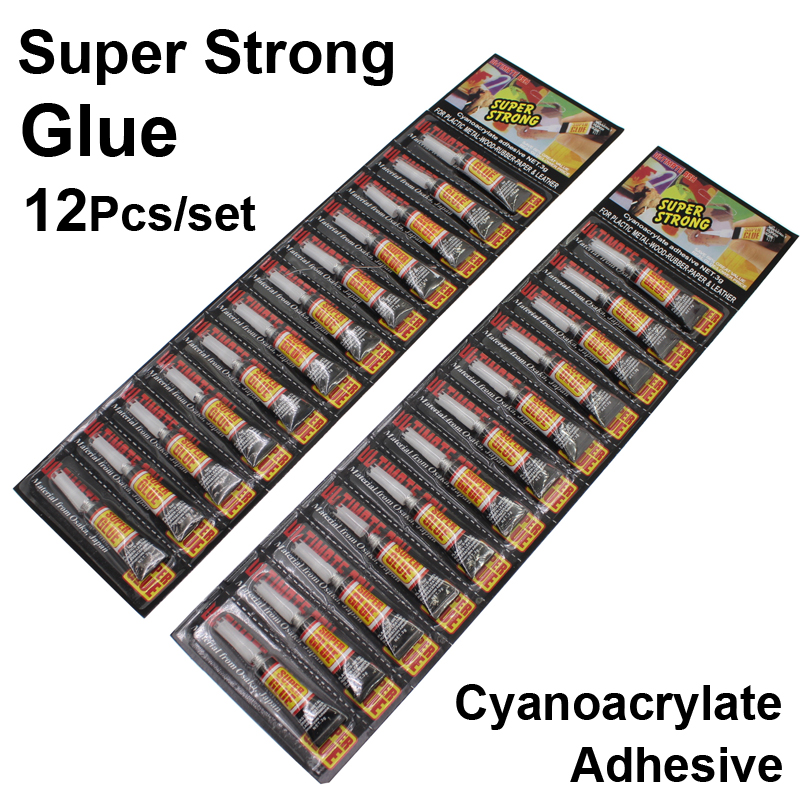 24Pcs Super Strong Liquid Glue Plastic Metal Wood Rubber Paper Leather Fabric Cyanoacrylate Adhesive School Industrial Lcd Epoxy