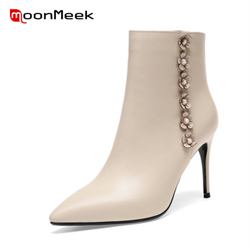 MoonMeek high quality 2018 genuine leather boots women sexy high heels ankle boots autumn winter ladies thin heels boots size цена 2017