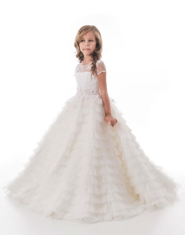 Ivory short sleeves with bling silver sequins flower girl dress junior bridesmaid outfit for wedding party any size