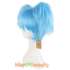 """Image 2 - MapofBeauty 12 """"gökyüzü mavi yeşil kısa düz peruk iki şekli pençe at kuyruğu cosplay peruk isıya dayanıklı sentetik saç"""