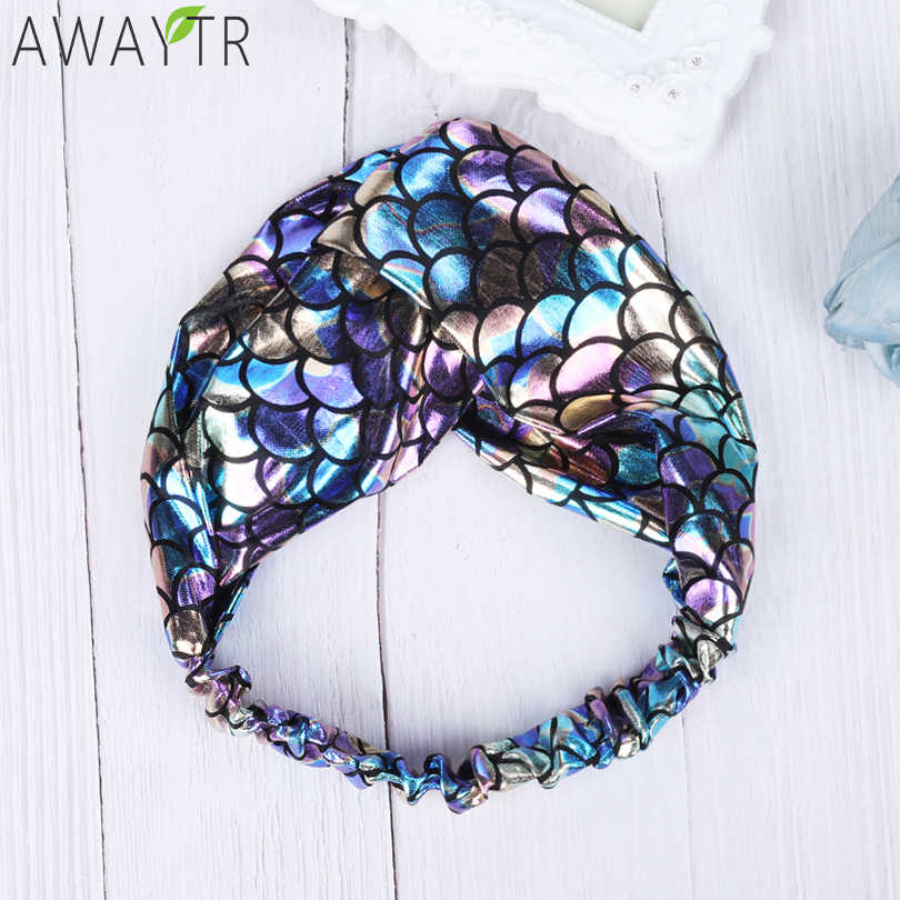AWAYTR Female Girl Mermaid Fish Scale Headband Print Cross Cotton Head With Colorful Cross Scarf Headgear Women Hair Accessories