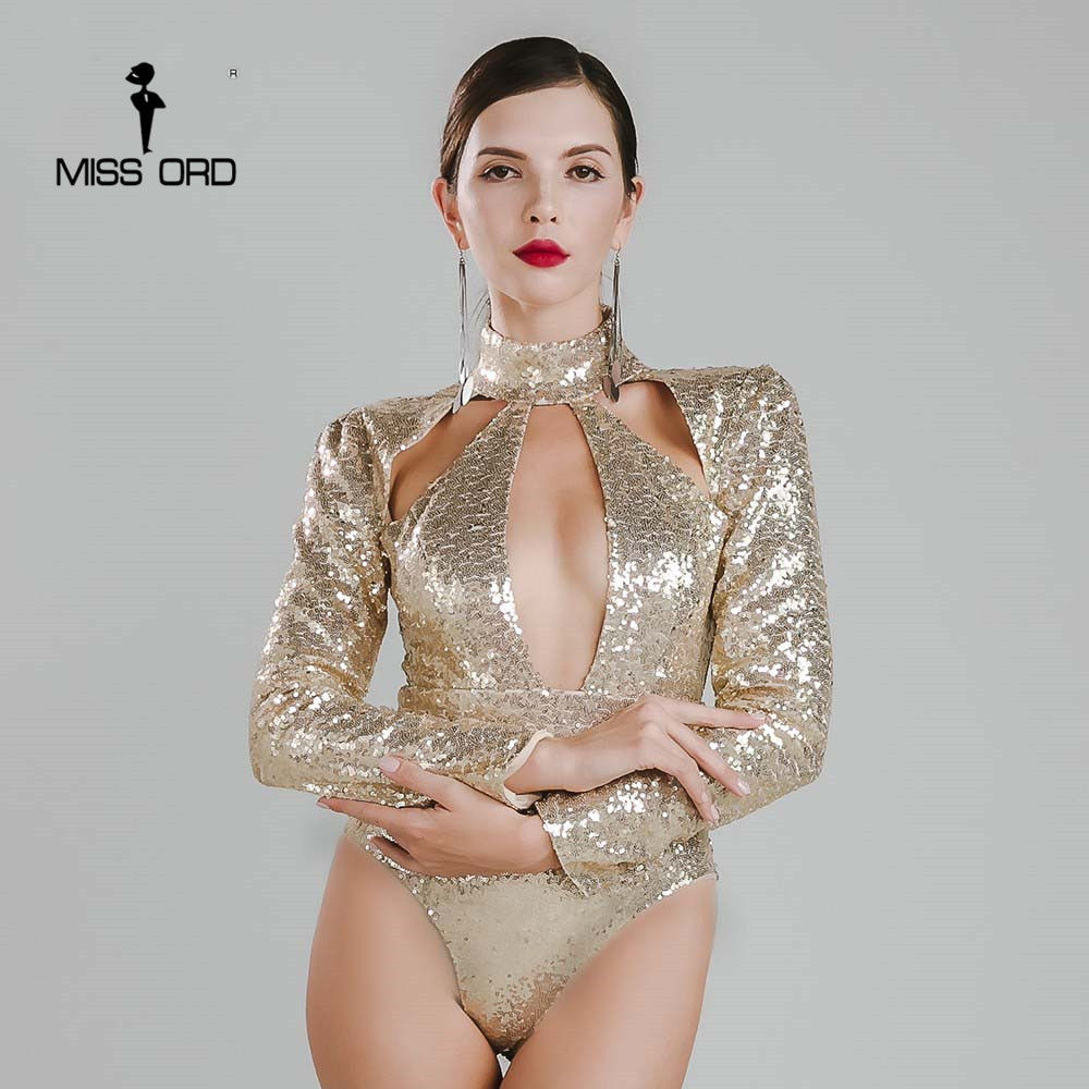 Missord 2017 Sexy tight O neck long sleeve sequin bodysuit FT4748 1