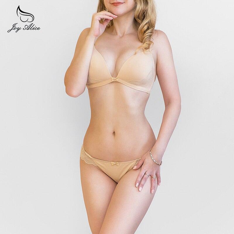 Joy Alice 2019 high-end brand wire free lingerie lace bra set women fashion underwear set push up lade bra and panties set