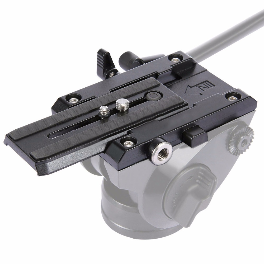 PULUZ Quick Release Plate Aluminium Alloy Clamp Jaws Adapter Mount System with Sliding Plate on Tripod for camera and Camcorder