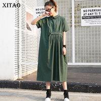 XITAO Drawstring Women Midi Dress Elegant Casual Plus Size Runway Peter Pan Collar Vintage Style Women Tops New Summer WBB3423
