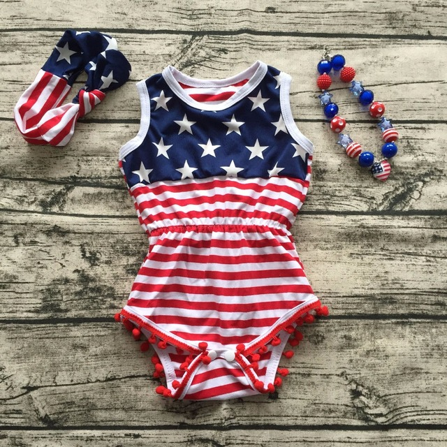 9cf73e1bf075 wholesale 2018 new design Baby Girl summer Romper Pretty Romper with  headband set july 4th romper newborn girl summer rompers-in Rompers from  Mother   Kids ...