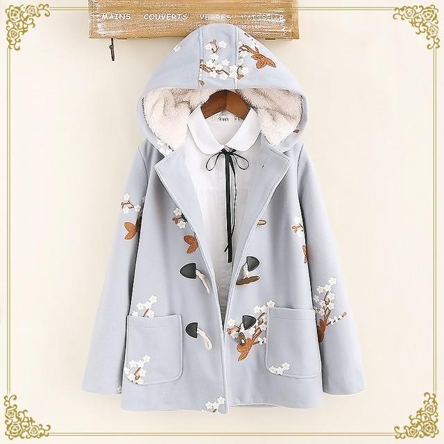 Tic-tec winther outono algodão grosso quente plum blossom bordado de lã parkas moda botão da buzina casacos p2827