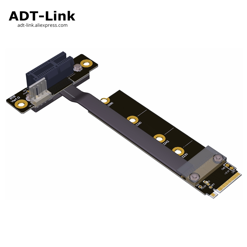 Elbow <font><b>M.2</b></font> NVMe Adapter TO PCI-E 1x <font><b>pcie</b></font> 3.0 <font><b>x1</b></font> Riser card ribbon Gen 3.0 cable M2 NGFF M-key pci express Angle 8G/bps 1FT 30cm image