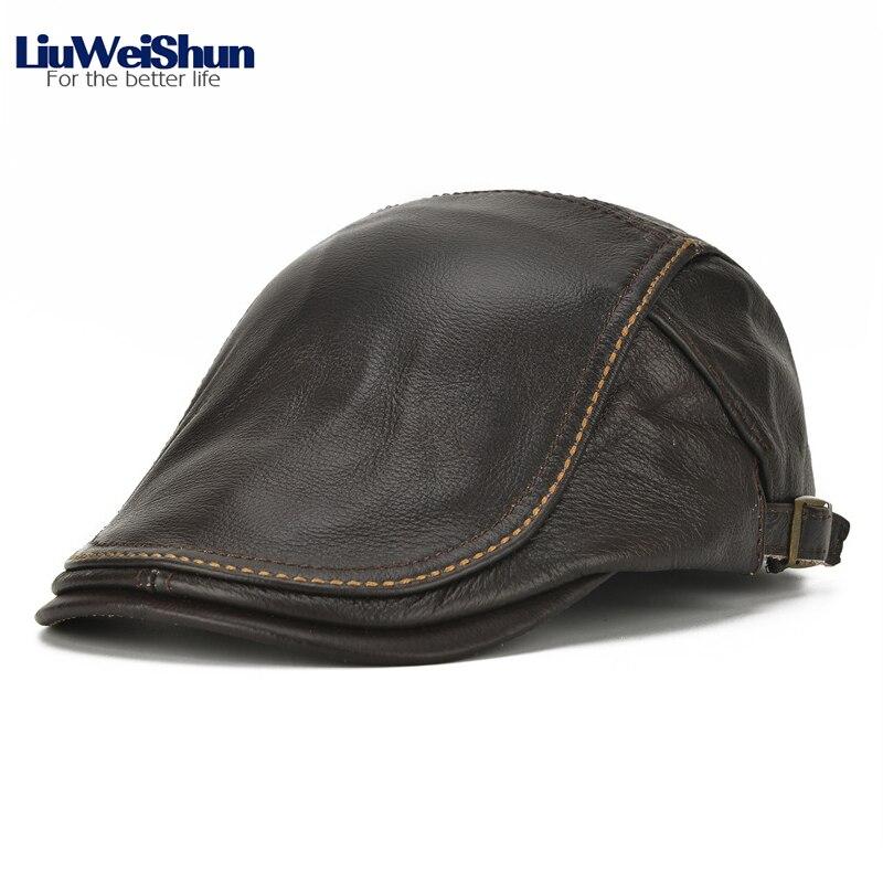 2018 automne peau de vache en cuir véritable visière Cap pour hommes classique de haute qualité en cuir solide chapeau aîné hommes papa décontracté en plein air casquettes