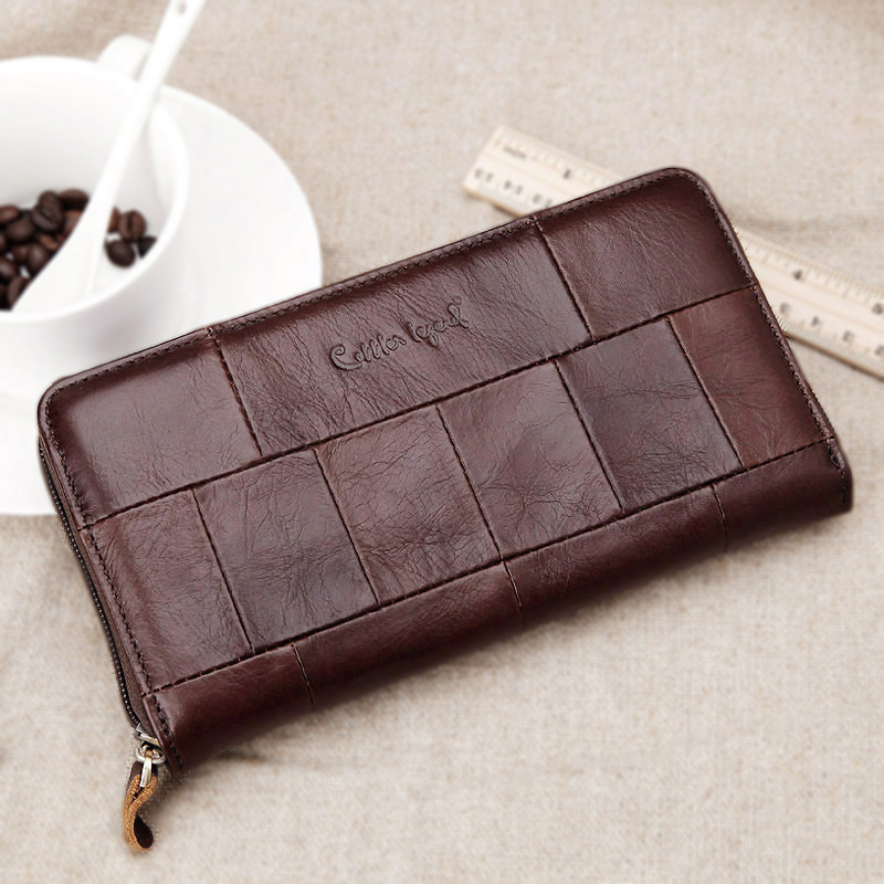 Women Men Genuine Leather Cowhide Brown Bag Long Wallet Card Money Holder Clutch Purse Patchwork Designer Wallets Phone Pocket отвертка kraftool 25550 h10