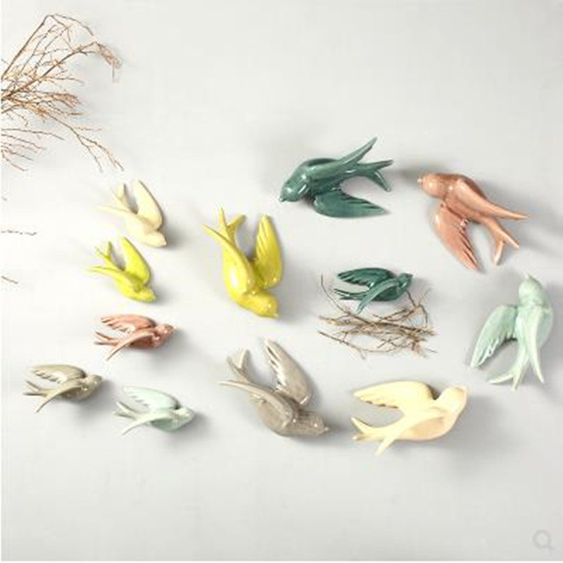 Colored Swallow Birds, Three-dimensional Wall Stickers Crafts, Wall Decorations, Home Office Restaurant Decoration Gifts