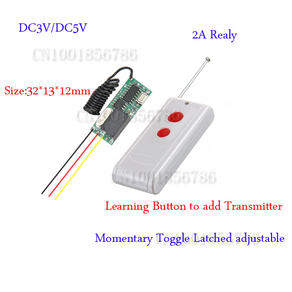 wireless remote control Remote Switch 3v 5v DC 10A Relay Receiver + Long Range Transmitter 50-1000m Power Switch 315/433 long range remote control switch dc 12v 1 ch 10a relay 4 receiver 1 transmitter learning code 315 433 4204