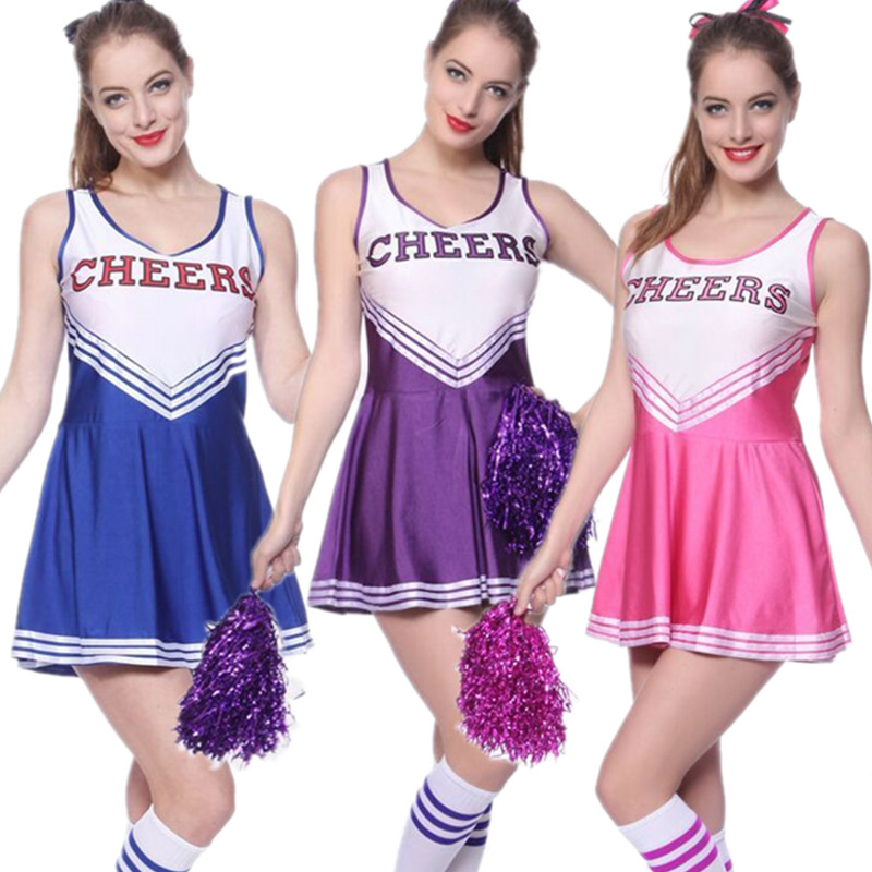 XS XXL sexy performance Lovely High School Team Cheerleader Girl ...