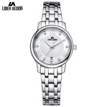 Liber Aedon Silver Stainless Steel Luxury Women Watch Sport Quartz Classical Elegant Rhinestones Women Wrist Bracelet Watch