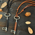 Wholesale Vintage Style Genuine Leather Necklace Pendants For Men / Women Key Accessories Necklaces Valentine's Day Gift