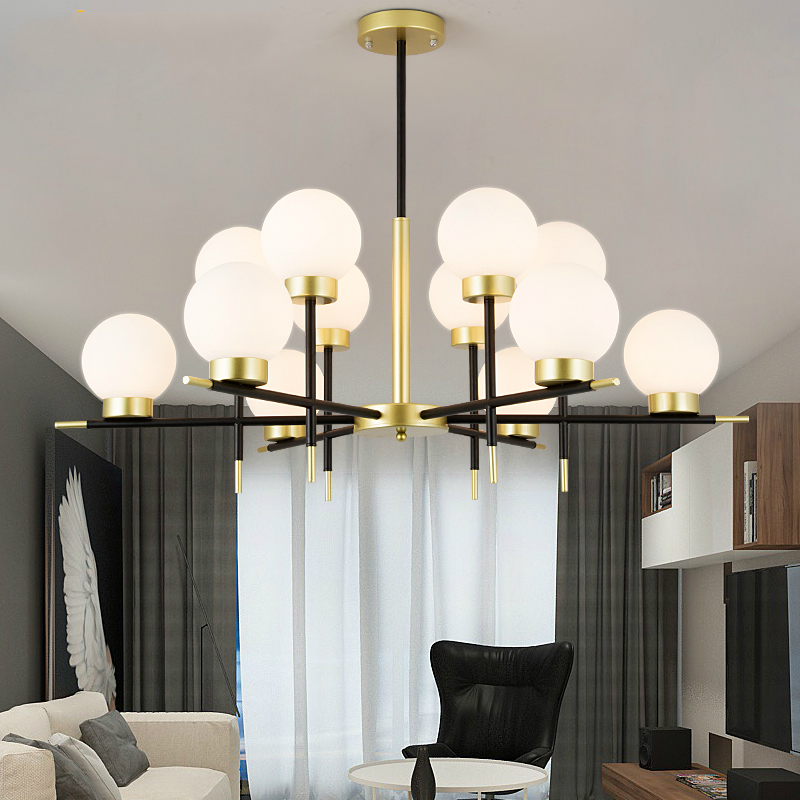 Modern Glass Ball LED Chandelier Living Room Pendant Lamp Bedroom Fixtures Restaurant Suspended Lights Iron Hanging Lighting