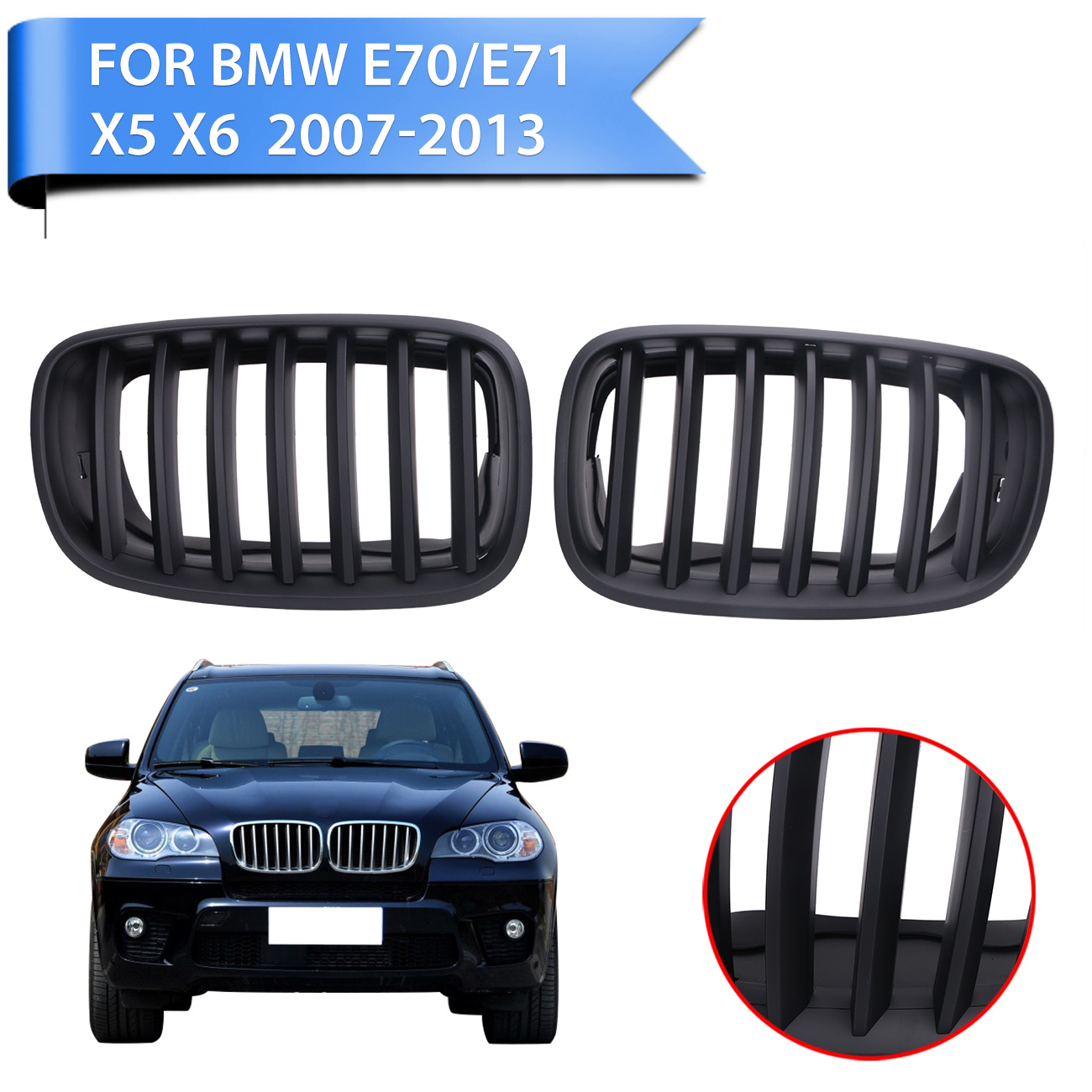 Front grille kidney grills lattice for bmw e70 e71 x5 x6 suv m sport xdrive 2007