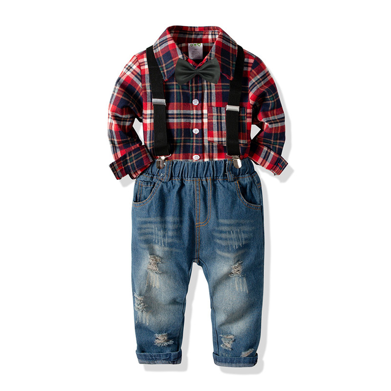 Boy Long Sleeve Plaid Shirt and Jeans 2 Piece Outfits Set