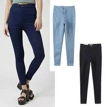 2016 весенняя мода все-матч сплошной цвет классический ультра высокой упругой талии тонкие джинсы женские карандаш брюки Стрейч Узкие Джинсы