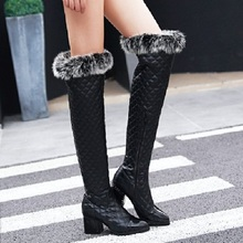 SALCXOI winter boots women snow boots over the knee boots high heel boots PU feather pointed toe shoes woman free shipping &F999