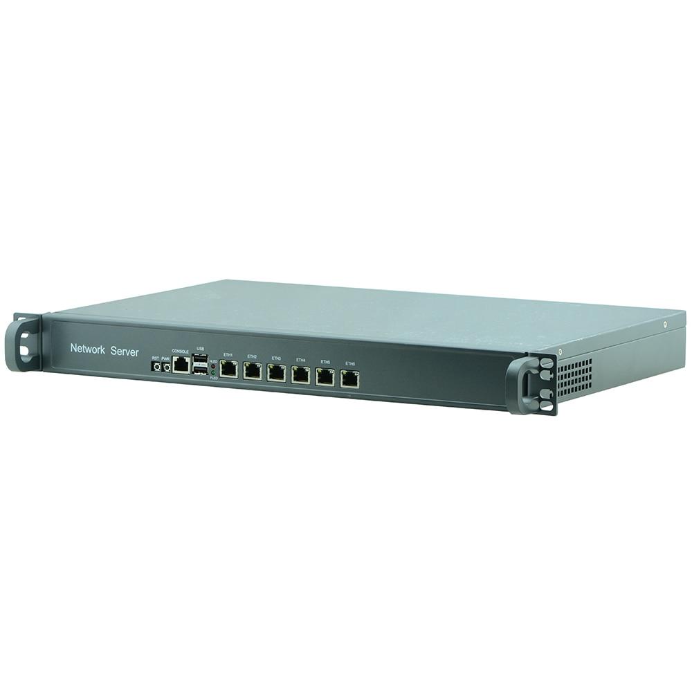 6 Ethernet LAN Ports Network Security Firewall Linux Fanless 1U Rackmount Server Intel Celeron Quad Core J1900