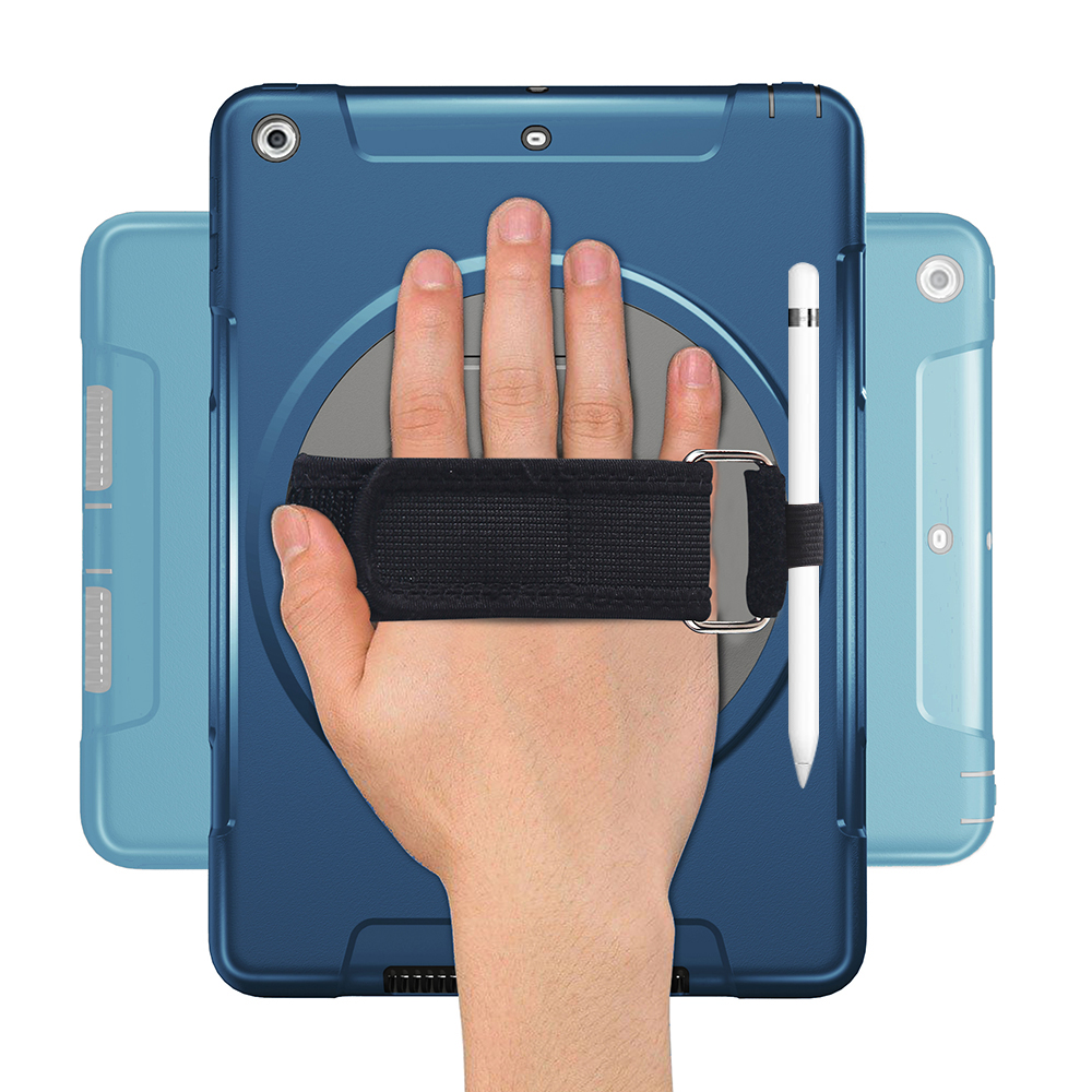 Case for iPad 2018 2017 9 7 inch with 360 Degree Rotating Hand Strap Kickstand Pen Holder Dustproof Cover Case a1893 a1823 FTL02 in Tablets e Books Case from Computer Office