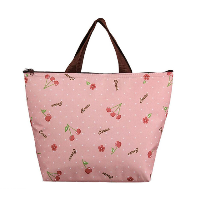 Simple Style Lunch Bags Insulation Picnic Portable Package Waterproof Food Lunch Box Oxford Fabric Fashion Printing Flowers