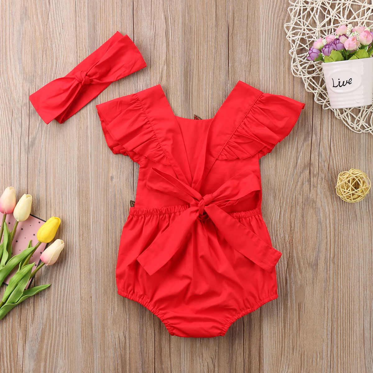 2017 одежда для маленьких девочек с красным цветком, пляжный костюм без рукавов с цветочным принтом, боди, милая повязка, комплект, комбинезон, одежда