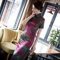 2017 a Primavera Eo Verão Nova Chegada Plus Size Flores de Seda Longo de Seda Vermelho Chinês Tradicional Vestido Vestido Estampado Floral