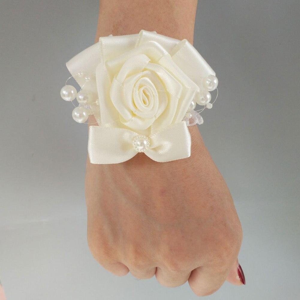 Bracelet Fleur Demoiselle D 39 honneur Corsage Wedding Wedding Flowers Bracellete Bridesmaid Bracelet Girls Pearls Corsages Prom