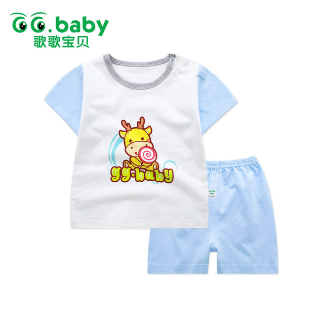 b4839e25123b8 Baby Boy Sets Newborn Baby Girl Clothes Summer Cotton Clothing Suits Cute  Animal Print Infant Baby Outfit Short Sleeve Clothing