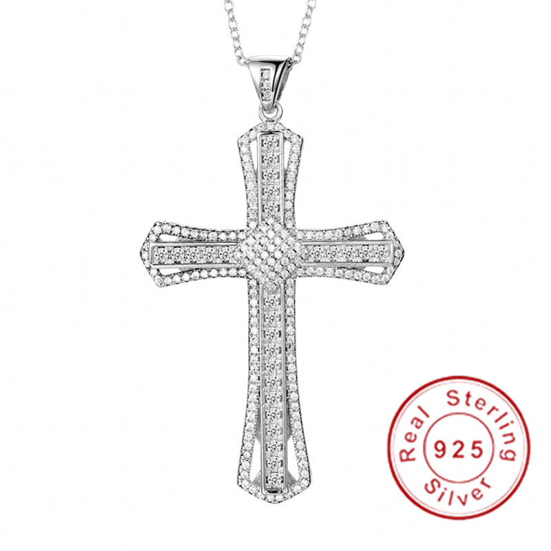 Infinity Necklace Cross Pendant Stainless Steel Chain Men Crucifix Women Silver