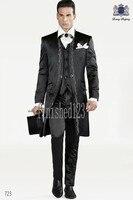 Klasik Tarzı Siyah Nakış Damat Smokin Groomsmen Erkek Düğün Balo Damat Suits (Ceket + Pantolon + Yelek) HIÇBIR: 702