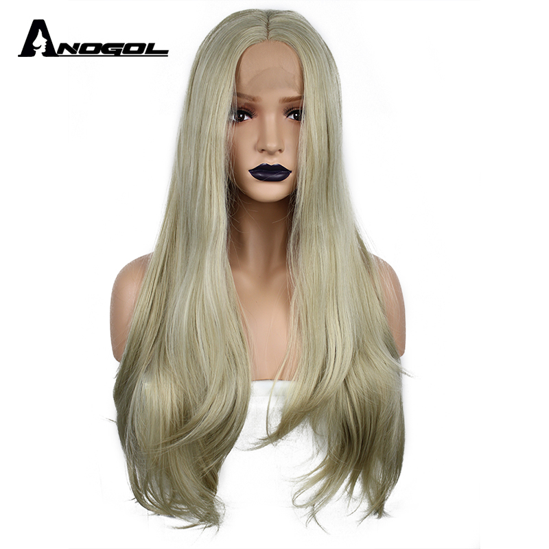 Anogol High Temperature Fiber Perucas Frontal 613 Wigs Blonde Long Natural Wave Syntheti ...