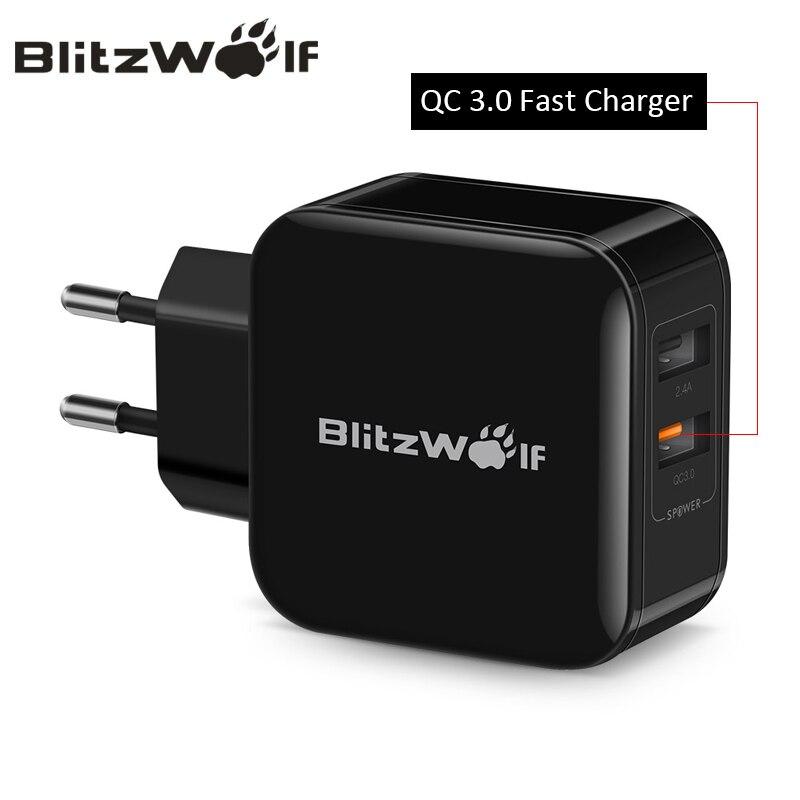 BlitzWolf QC3.0 + 2.4A 30W Cargador doble USB Cargador rápido Adaptador de la UE Adaptador de viaje de la UE Cargador de pared para iphone 8 8 más x