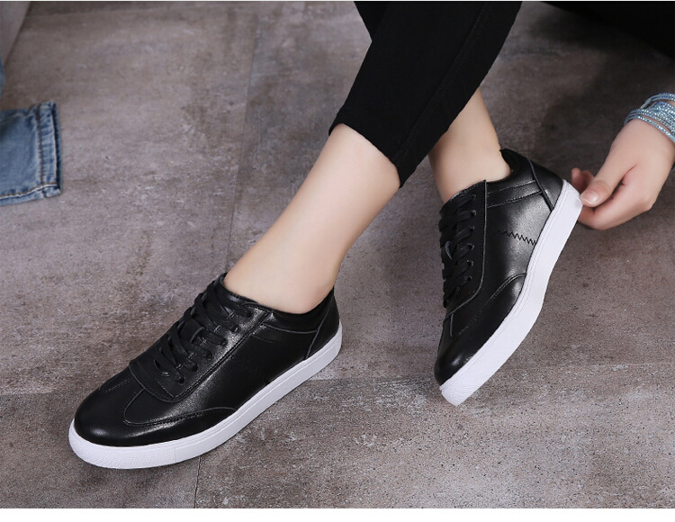 women shoes Genuine leather Lace-Up flats white shoe Soft bottom loafers Casual Shoes size 35-40 17