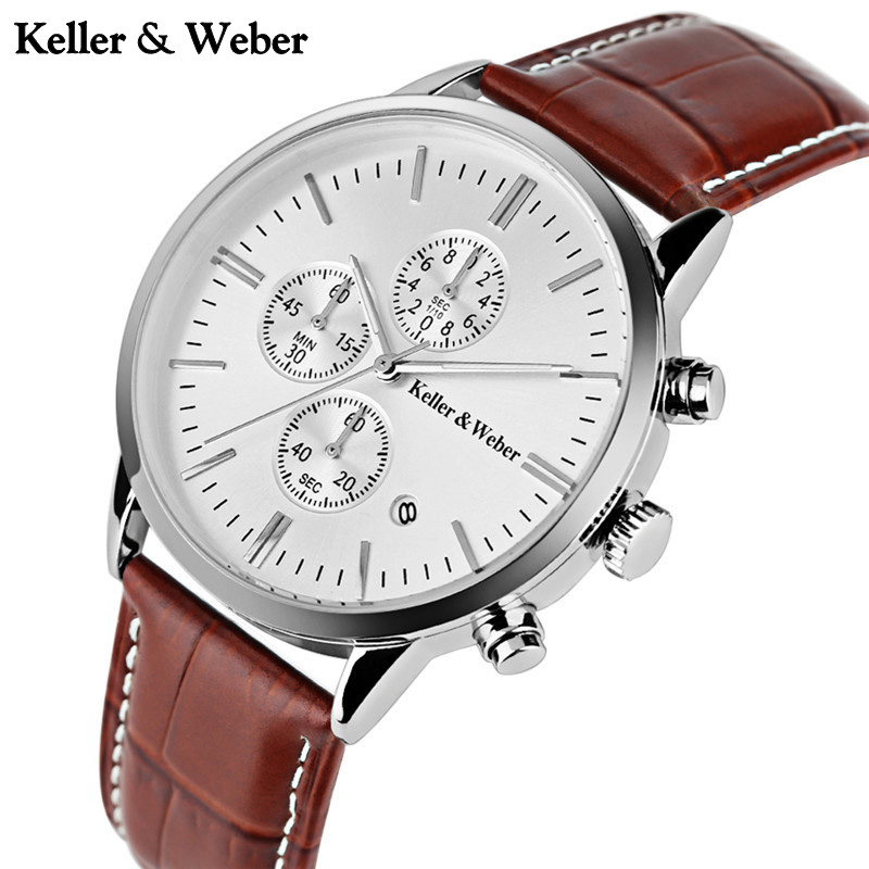Keller & Weber Chronograph Watch 30ATM Water Resistant Genuine Leather Band  Date Display Mens Quartz Wrist Watch relogio рубашка gerry weber gerry weber ge002ewwra96