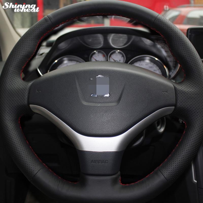 Volante brillante in pelle nera Coprivolante in pelle cucita a mano - Accessori per auto interni