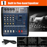 48V 4 Channel USB KTV Karaoke Audio Stage Audio Music Mixer Mixing Console With Power Amplifier for Stage Performance Family