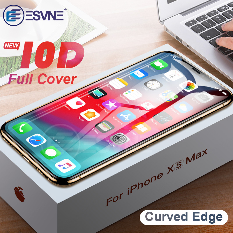 ESVNE New 10D Tempered Glass For Iphone X XS Screen Protector Protetive Glass On IPhone XR XS MAX Film Curved Edge Full Cover 9H