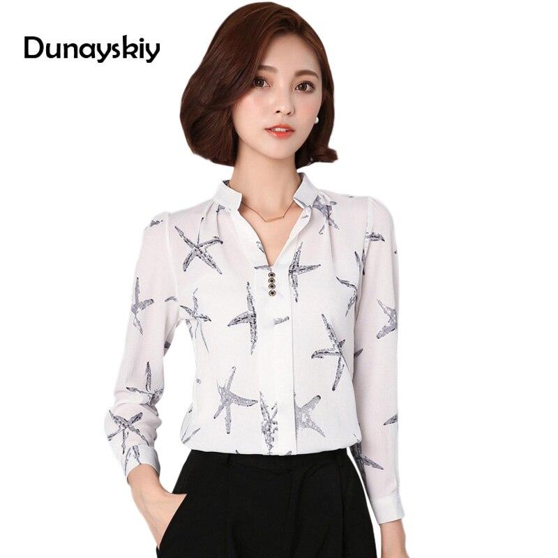 6599543bba4 Осенняя блузка женская Топы с длинным рукавом белая рубашка с принтом Женская  Офисная Леди Повседневный Топ Женская Черная Рубашка дешевая.